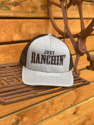 Dale Brisby 'JUST RANCHIN' Cap - Grey & Black Meshback