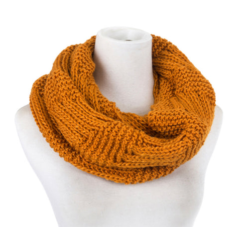 Scarf knit snood rust