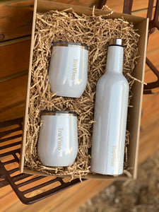 Wine flack and stemless tumblers gift pack