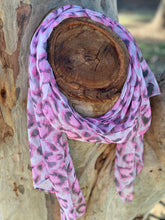 Pink animal print silk feel scarf