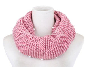 Snood scarf pink with pearls knit
