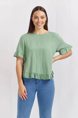 Beth button down top sage