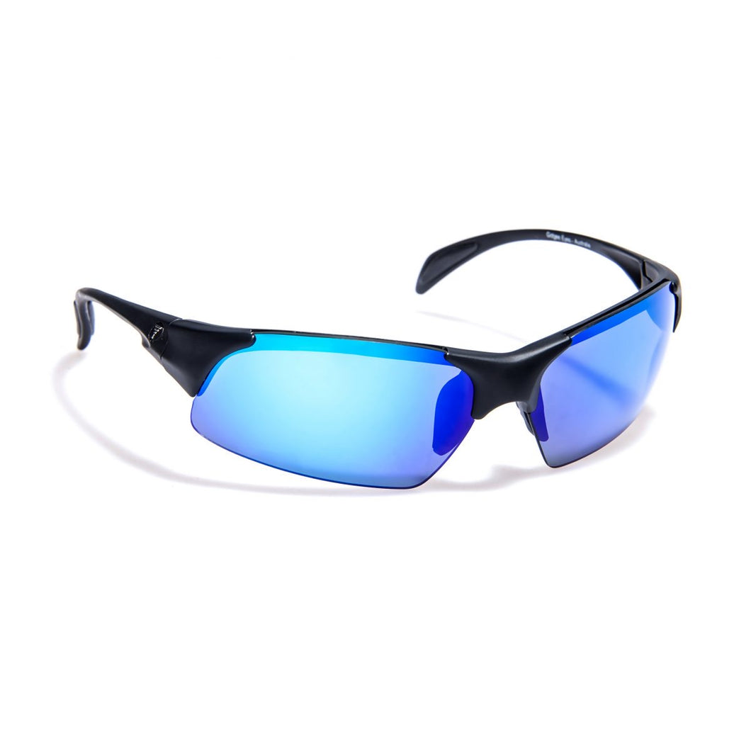 Gidgee eyewear clean cut Black blue revo sunglasses