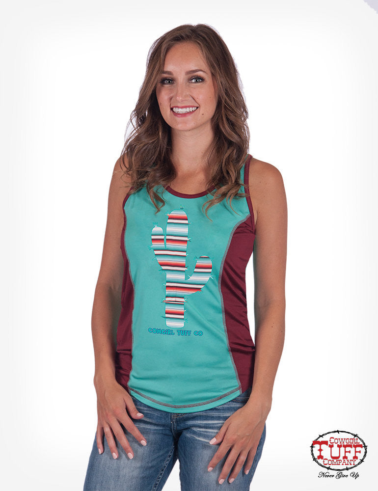 Cowgirl Tuff TURQUOISE AND RED LUX ATHLETIC RACERBACK TANK WITH CACTUS PATCH