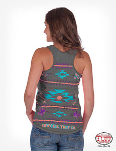 CHARCOAL LUX ATHLETIC RACERBACK TANK WITH AZTEC PRINT COWGIRL TUFF top
