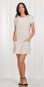 Linen blend stone tie dress