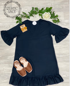 Shift Frill Dress Navy
