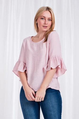 Frill sleeve blouse top pale pink