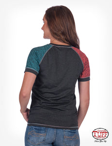 CHARCOAL LUX ATHLETIC TEE WITH COLOR-BLOCK SLEEVES & COWGIRL TUFF™ PRINT