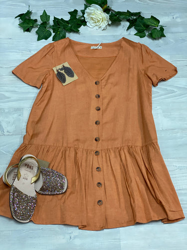 Sienna baby doll Dress Rust