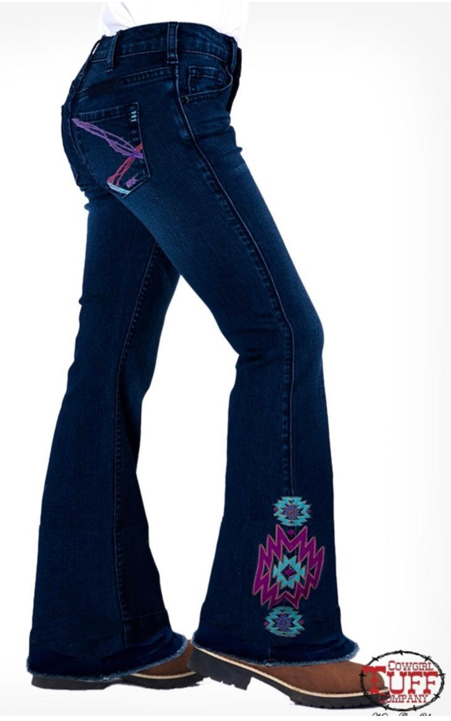 Cowgirl Tuff Girl's Aztec Rocks Jeans