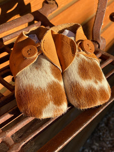 Tan baby booties cowhide