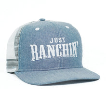 JUST RANCHIN LIGHT DENIM/WHITE MESHBACK PRECURVED Dale Brisby