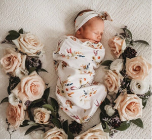 Boho Posy I Snuggle Swaddle & Topknot Set