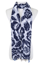 Scarf navy and white with tassel