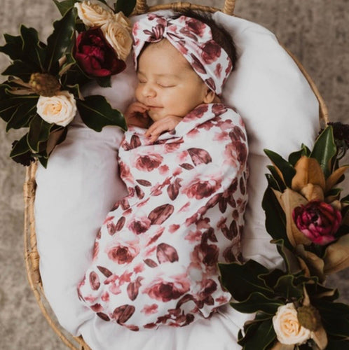 Fleur | Snuggle Swaddle & Topknot Set Baby Swaddle Sacks