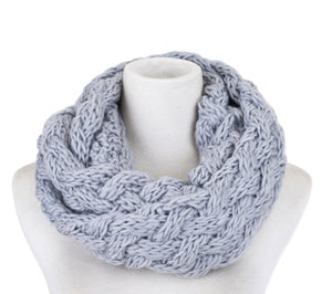 Scarf snood knit grey