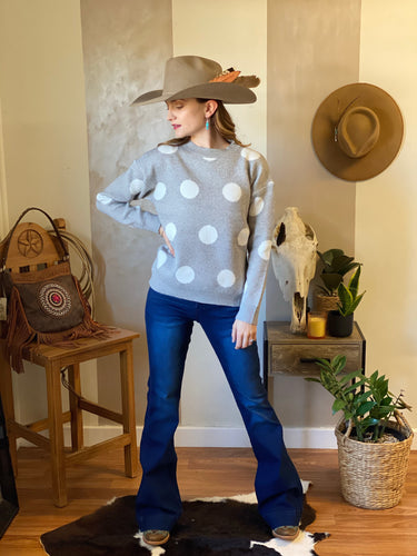 Polka dot knit jumper grey