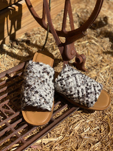 Woven Hairon Slides Cowhide Footwear