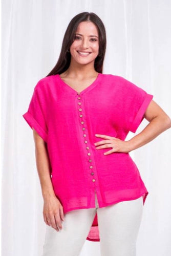 Hot pink capped sleeve top