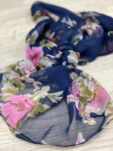 Silk feel scarf navy floral