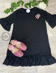 Shift Frill Dress Black