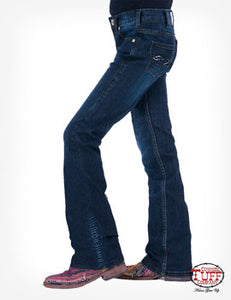 Girls Blue Shimmer Cowgirl Tuff Jeans