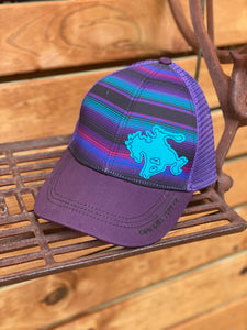 Purple Serape Trucker Cap with BUCKIN' HORSE PATCH
