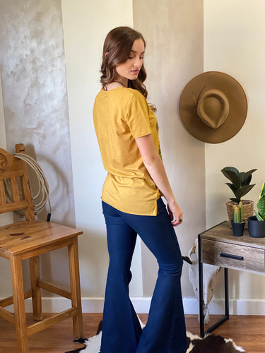 Livin the dream cowgirl tuff Tee mustard