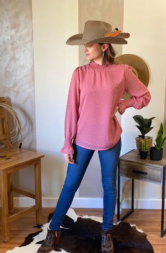 Rose Top Dusty pink blouse long sleeve