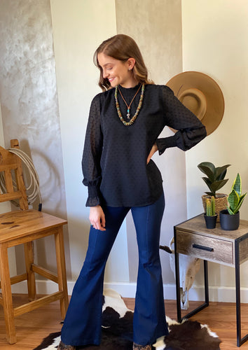 Rose Top black long sleeve blouse