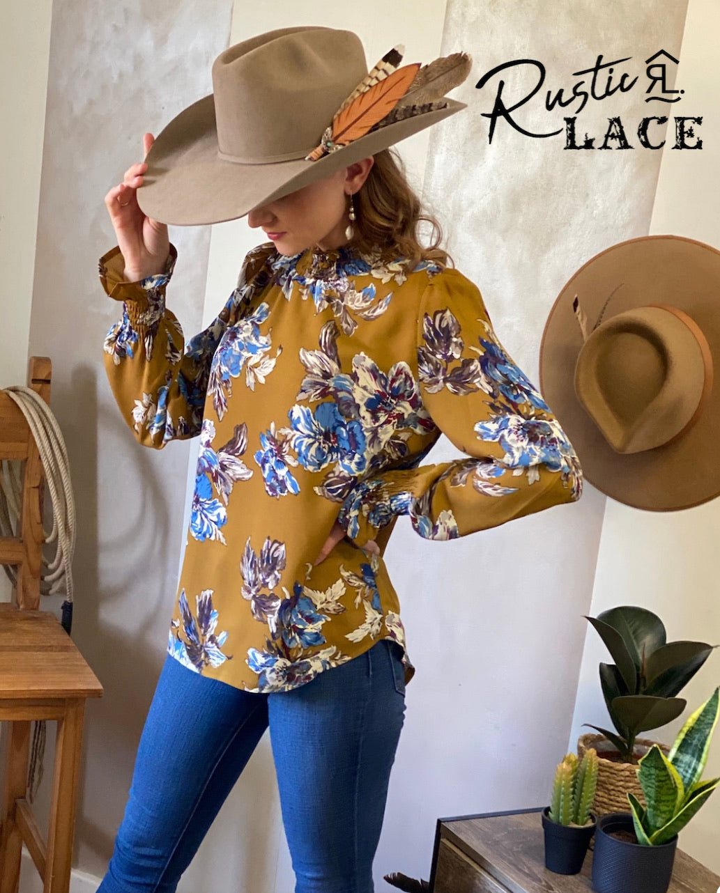 Long sleeve blouse top mustard
