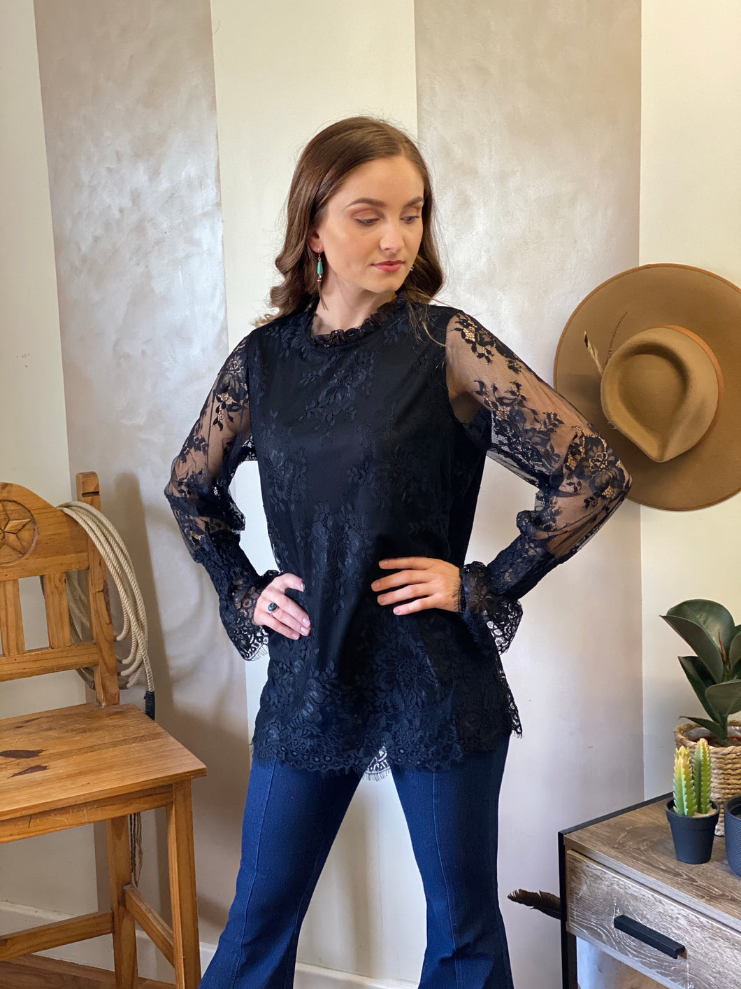 French lace black long sleeve blouse/top
