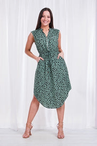 ZIP NECK PRINTED DRESS GREEN
