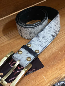Cowhide belt black and white size Large