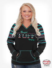 BLACK AND GREEN SERAPE LONG SLEEVE TEE WITH TUFF PATCH Cowgirl Tuff H00593