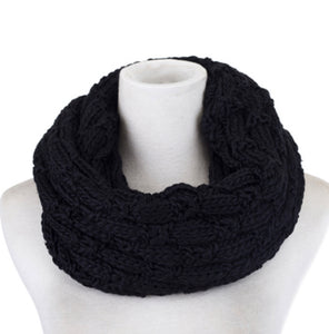 Scarf knit snood black