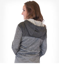 Gray sherpa lined hoodie with branded embroidery cowgirl tuff