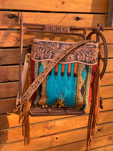 Saddle blanket tooled bag