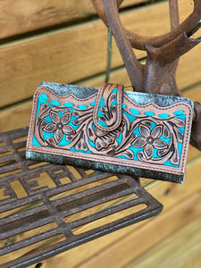 Tooled leather cowhide wallet