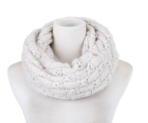 Scarf knit snood cream