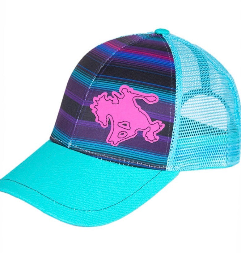 PURPLE SERAPE TRUCKER CAP WITH BUCKIN' HORSE Purple serape trucker cap