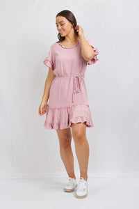Dusty pink frill dress