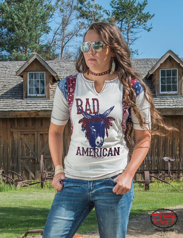 Cowgirl tuff CREAM TEE WITH BANDANA ACCENTS AND BAD*** PRINT