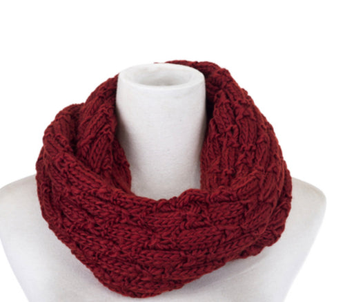 Scarf knit snood wine