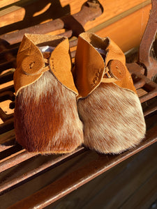 Cowhide Baby Booties Tan