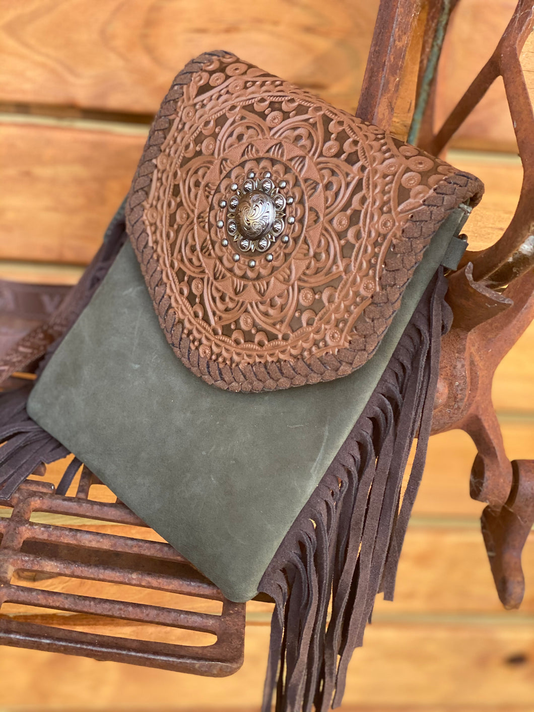 Montana West 100% Genuine Leather Tooled Collection Crossbody