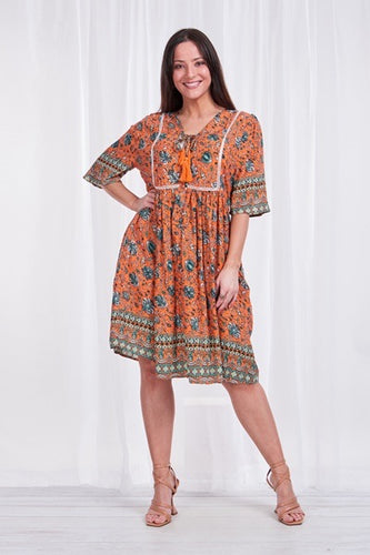 BORDER PRINT SMOCK DRESS