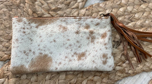 Rustic Lace Lacy cowhide clutch