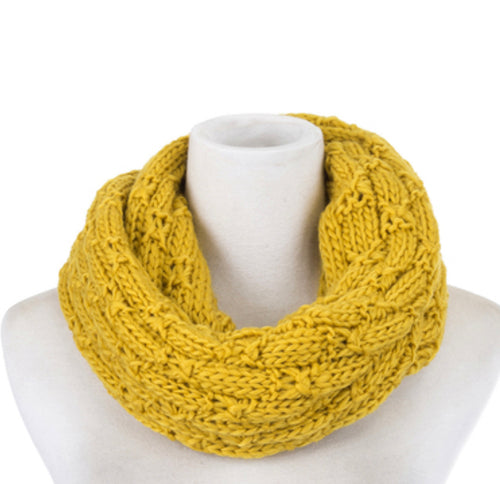 Scarf knit snood yellow